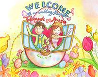 Wedding welcome board illustrations