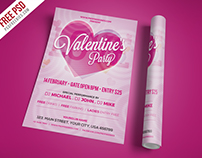 Free PSD : Modern Valentines Party Invitation Flyer PSD