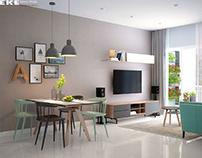 Thiết kế nội thất căn hộ chung cư Vista Verde 75m2 quận