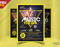 Live Music Festival Flyer PSD Template