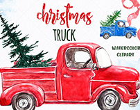 Christmas Holiday Truck Car Watercolor clipart