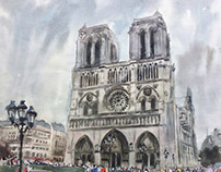 """Notre Dame de Paris""  paper watercolor 30x 40"