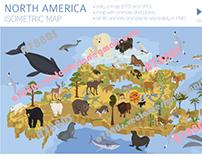 North America isometric map
