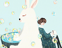 rabbit with bubbles