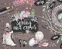 "Watercolor bundle ""Spring and crows"""