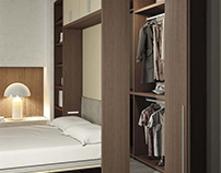 Multi-purpose cabinets combine the wardrobe with other