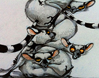 Ring-tailed lemurs (markers and pencils on paper)