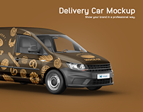 Volkswagen Caddy Delivery Car Mockup