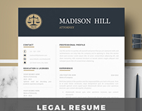 Legal resume template for word & Pages - Legal cv