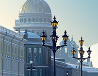 Saint Isaac's Cathedral. Winter. Vector graphics