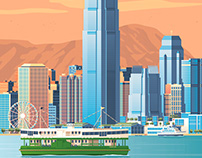 Hong Kong Retro Travel Poster City Illustration