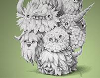 Leafy critter pencil illustration