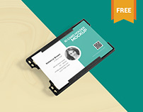 Free Beautiful ID Card Holder Mockup