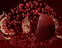 Pomegranate Fruit Explosion Animation