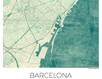 Barcelona, Spain. Map Blue vintage watercolor.