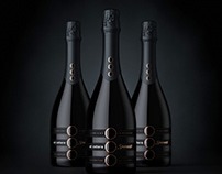Champagne product shot in 3d.