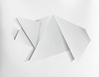 White origami pig