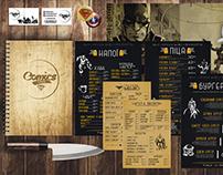 """Comics Cafe"" restaurant menu branding"