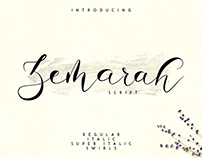 Zemarah script - 3 styles + Extras. Free font