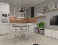 Soft loft kitchen & livingroom