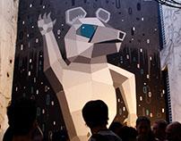 """Volturno Bear"" mural at Elsi del Rio, ""Eden"" solo show"