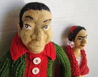 Frida and Diego - fiber  dolls