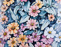 Watercolor flowers. Zinnia