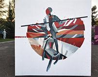 Balance, spraypaint, 250x250cm, 2018.