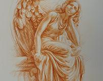 Angel Anioł coloured pencil burnt ochre