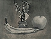 Still life of bamboo, apple, and banana