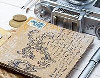 Ink drawn post card - Floral Swirl