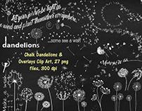 Chalk Dandelions & Overlays Clip Art - FREE
