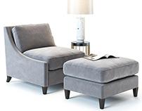 3D Model | Baker Furniture | Curved Back Armchair