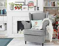 Christmas Living Room - Pillow & Frames Set
