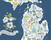 Michigan Illustrated Map - Five-Color Screen Print