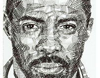Luther (Idris Elba) - biro pen drawing