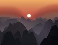 Illustrated misty mountains
