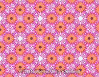 Pink and orange floral repeat pattern