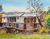 landscape in watercolors