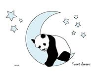 Oso panda durmiendo. Ilustración infantil