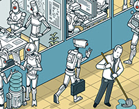 artificial intelligence taking jobs : isometric