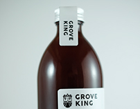 Grove King cold pressed juice label design