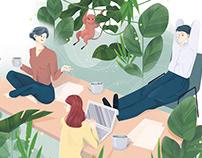 Editorial illustrations for Schweizer Familie