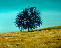 Blue tree in a grain field