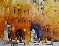 Watercolor Painting Castel