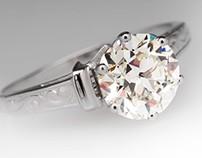 Vintage 1.7 Carat Transitional Diamond w/ Crown Setting