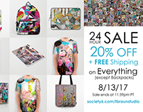 24 hour SALE 20% OFF + FREE shipping 8/13/17