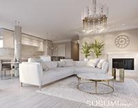 Modern classic interior design.