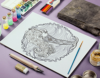 Coloring pages for grown ups with mermaids in zentangle