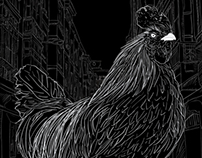 Weird rooster on a street